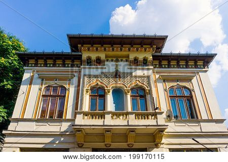 antique building view in Old Town Bucharest, Romanian