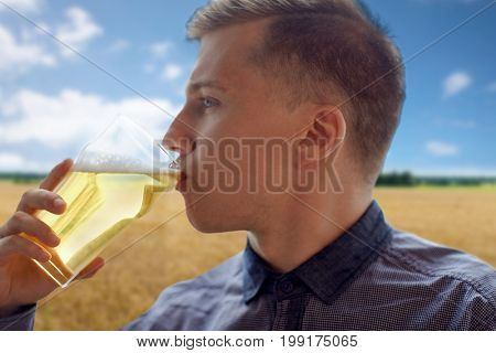 people, drinks, alcohol and leisure concept - close up of young man drinking beer from glass over cereal field and blue sky background