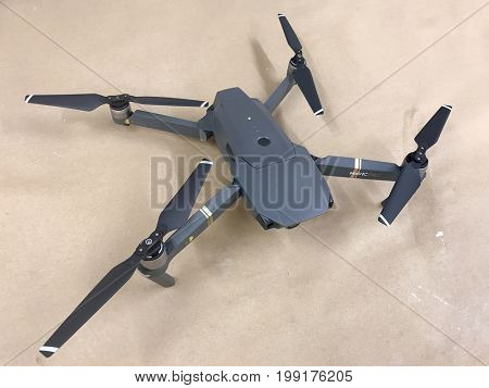 LONDON - AUGUST 2, 2017: DJI Mavic Pro gimbal stabilised 4K video and photo camera drone.