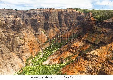 waimea valley kawaii hawaii aereal vision in summer