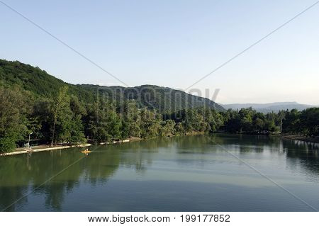 Lake at sunset in the city of Nalchik foothills of the Caucasus.