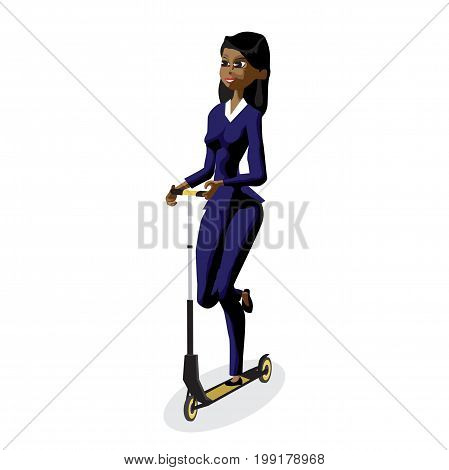 Afro business woman on a kick scooter. Vector flat design illustration isolated on white background