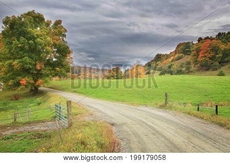 Autumn drive in rural Vermont