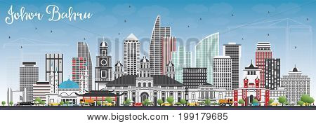 Johor Bahru Malaysia Skyline with Gray Buildings and Blue Sky. Business Travel and Tourism Concept with Modern Architecture. Image for Presentation Banner Placard and Web Site.