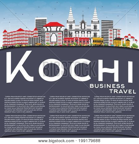 Kochi Skyline with Color Buildings, Blue Sky and Copy Space. Business Travel and Tourism Concept with Historic Architecture. Image for Presentation Banner Placard and Web Site.