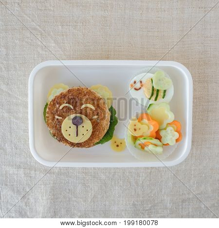 Bear and bumble bee lunch box fun food art for kids
