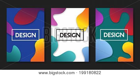 Set of vector illustrations with trendy color fluid shapes. Abstract design posters with colorful geometric elements on white blue and turquoise background.