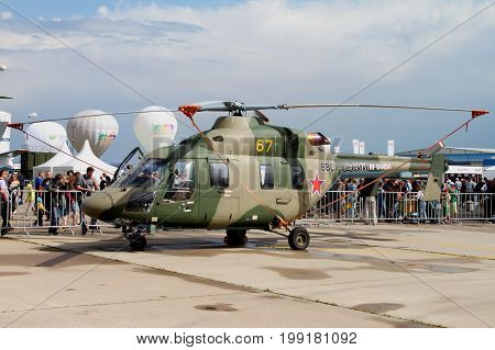 Moscow Region - July 21 2017: Dual-engine light multi-purpose gas turbine helicopter ansat at the International Aviation and Space Salon (MAKS) in Zhukovsky.