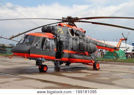 Moscow Region - July 21 2017: Helicopter Mi-8 at the International Aviation and Space Salon (MAKS) in Zhukovsky.
