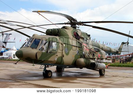 Moscow Region - July 21 2017: Military Helicopter Mi-8 at the International Aviation and Space Salon (MAKS) in Zhukovsky.
