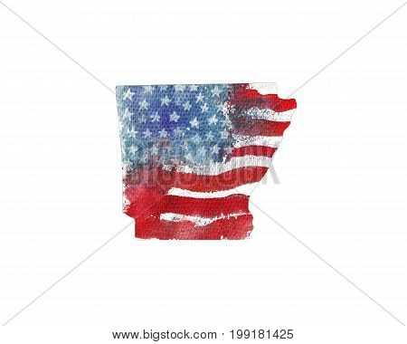 United States Of America. Watercolor texture of American flag. Arkansas.