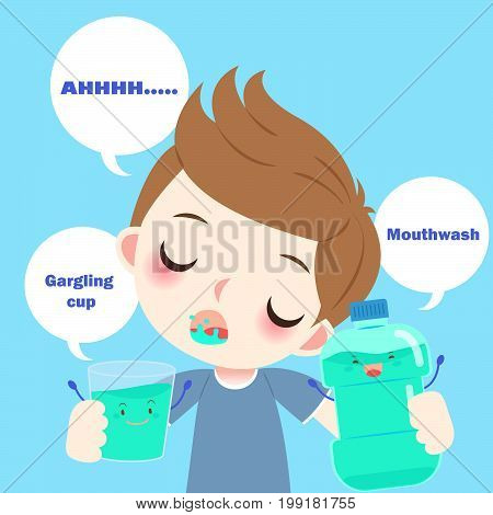 cartoon boy with mouthwash on the blue background