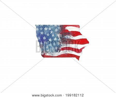 United States Of America. Watercolor texture of American flag. Iowa.