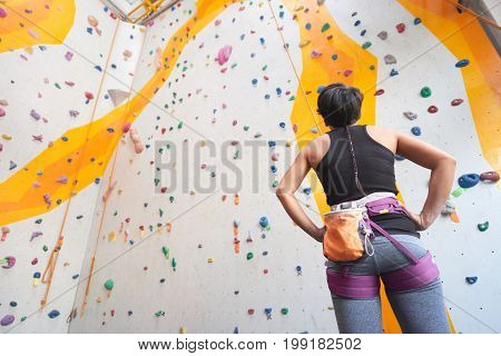 Rear view of female climber looking at the wall she is going to climb
