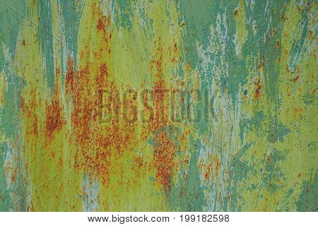 background of old green paint on a metal