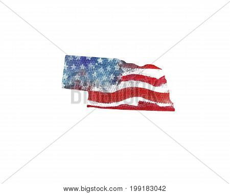 United States Of America. Watercolor texture of American flag. Nebraska.