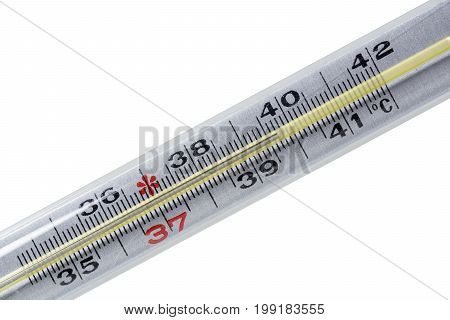 Clinical mercury thermometer. Isolated on white background - close up