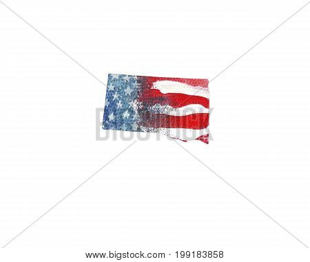 United States Of America. Watercolor texture of American flag. South Dakota.