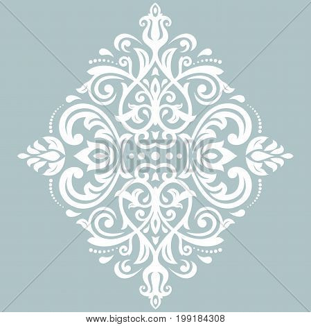 Oriental light blue and white pattern with arabesques and floral elements. Traditional classic ornament. Vintage pattern with arabesques