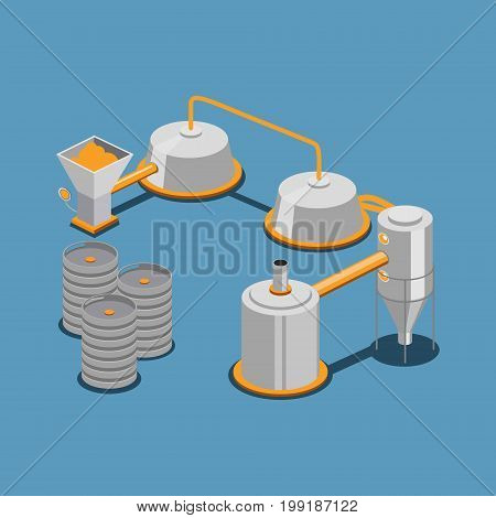 Industrial brewing line. Colorful minimalistic isometric style vector illustration