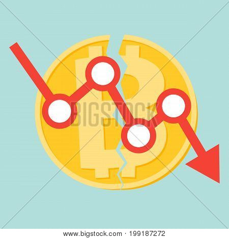 Concept Cryptocurrency Bitcoin divided into Bitcoin and Bitcoin Cash Flat design vector. Money and finance symbol Cryptocurrency. Gold coin with Bitcoin symbol cryptocurrency.