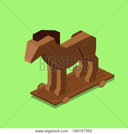 Trojan horse. Colorful minimalistic isometric style vector illustration