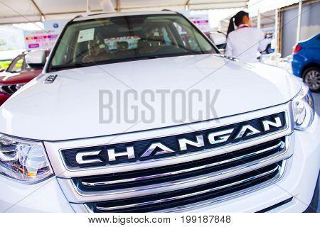 Dongguan, Guangdong, China - August 7, 2017: Changan Chinese automobiles on display at Dongguan car exhibition