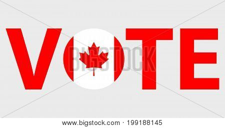 Voting Symbols vector design. template Elections icons. check marks. Patriotic voting poster. Presidential election in Canada. Typographic banner with round flag of the Canada.