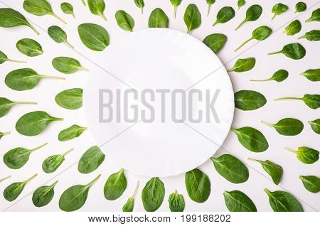 Frame made of spinach leaves and plate on white surface. Spinach leaf background. Creative food concept. Flat lay top view