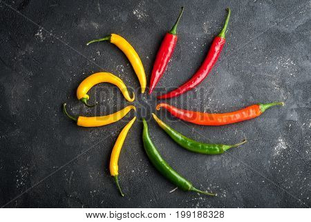 Variety of chili peppers. Red green and yellow chili pepper on dark background top view