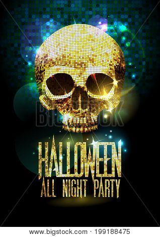 Fashion halloween party poster with gold sparkles skull, raster version