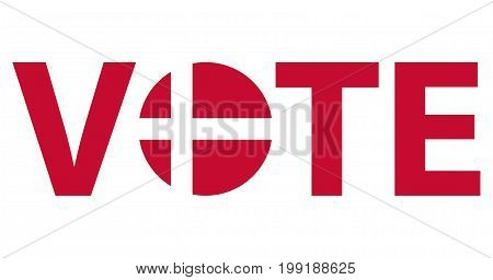 Voting Symbols vector design. template Elections icons. check marks. Patriotic voting poster. Presidential election in Denmark. Typographic banner with round flag of the Denmark.
