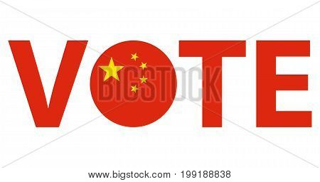 Voting Symbols vector design. template Elections icons. check marks. Patriotic voting poster. Presidential election in China. Typographic banner with round flag of the China.