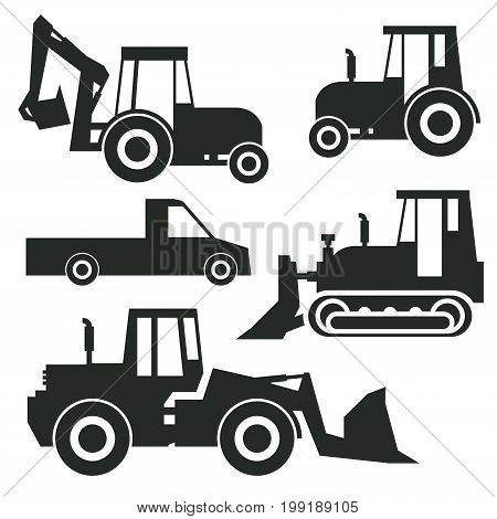 Tractor icon or sign set isolated on white background. Tractor grader bulldozer silhouette vector illustration.