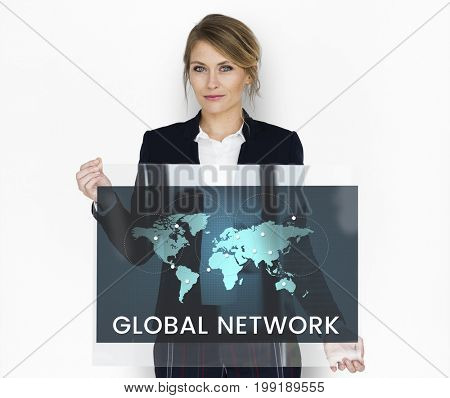 Global network communication technology graphic