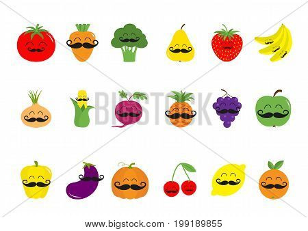 Fruit berry vegetable mustache face icon set. Pear strawberry banana pineapple grape apple cherry lemon orange. Pepper tomato carrot broccoli onion sweet corn beet eggplant aubergine pumpkin Vector