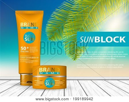 3d sunscreen protection sun care cosmetics containers orange set vector illustration - stock vector. Realistic tube of sunscreen and spray - a template for advertising. Advertising sunscreen and spray