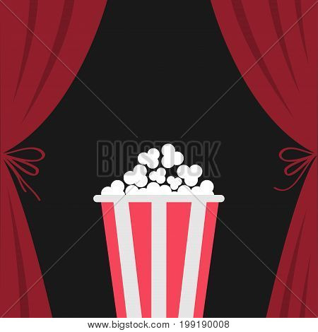 Popcorn box. Open luxury red silk stage theatre curtain. Velvet scarlet curtains with bow. Fast food. Flat design. Movie cinema premiere icon. Template. Black background. Vector illustration