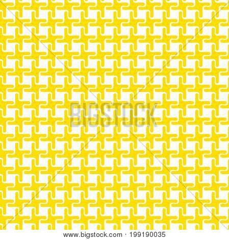 Repeating geometric tiles with a grid of twisting squares.Yellow and white