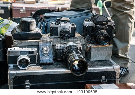 Tbilisi Georgia - October 15 2016: Flea market on Dry bridge having a lot of vintage and new cameras.