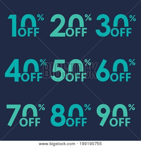 Sale icon set. Discount price off and sales design template. Shopping and low price symbols. 102030405060708090 percent sale. Vector illustration.