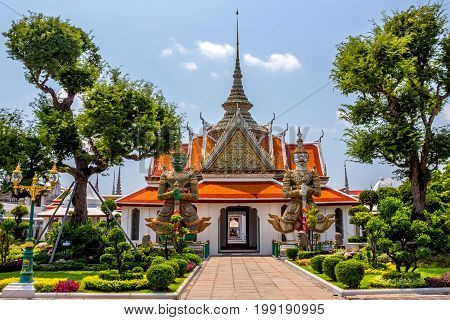 Marvellous view of Thai temple on sunny day in Bangkok