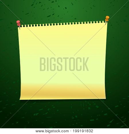 Yellow tag paper pinned on green blackboard. Copybook page. For back to school banner design. Vector illustration stock vector.