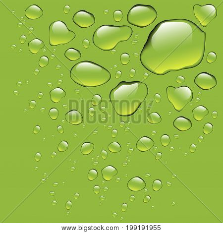 Realistic pure water drops realistic set isolated. Water drops with green background. Clean drop condensation. Vector illustration stock vector.