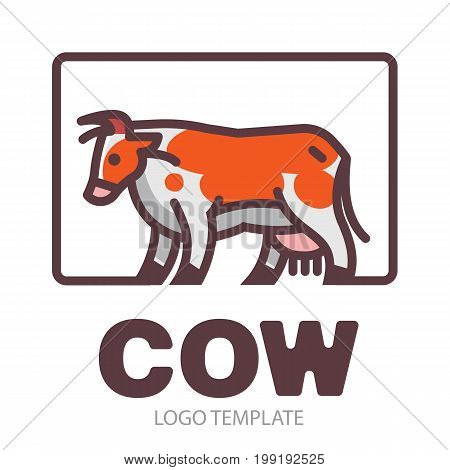 Colorful stylized drawing of going motley cow