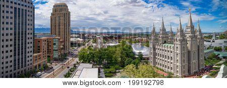 Salt Lake City USA - May 19 2017: Panoramic view of Salt Lake City downtown Utah USA