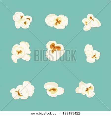 Vector set of popcorn elements. Vector illustration in flat style