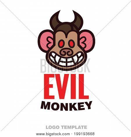 Evil monkey head logo template - vector illustration for mascot tattoo or t-shirt design