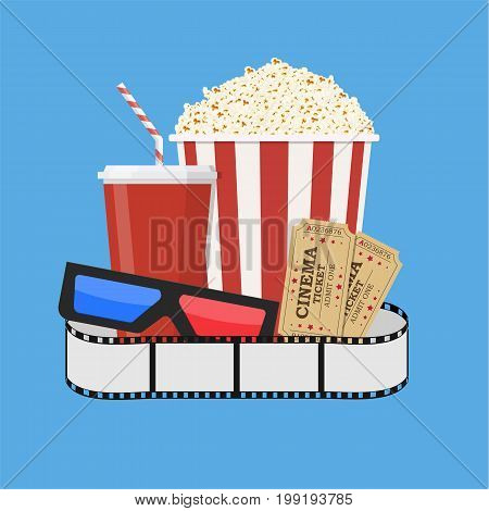 Movie poster template. Popcorn, soda takeaway, 3d cinema glasses and tickets. Cinema design. Vector illustration in flat style