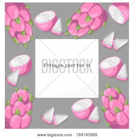 Pitaya fruits exotic card template. Vector Summer tropic theme patterns